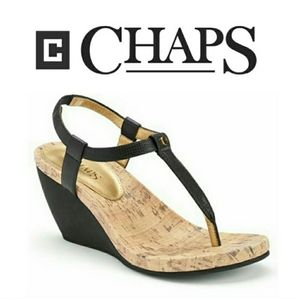 Ralph Lauren Chaps Raevyn Thong Wedge Heels Black